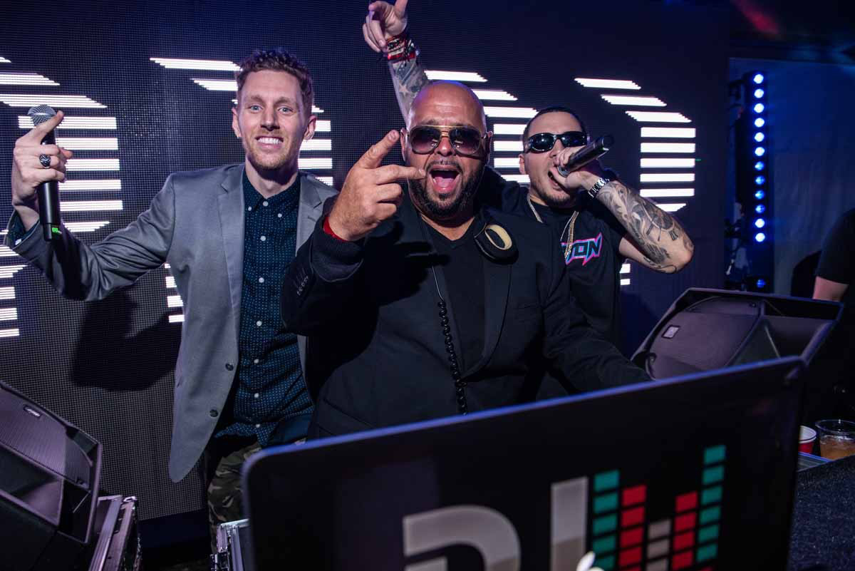 with DJ Laz and DJ Chino at Pitbull's Worlwide NYE Party